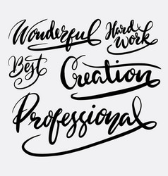 Creation and professional hand written typography vector