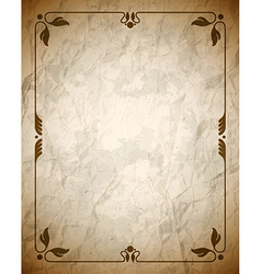 Crumpled brown frame with ornament vector image vector image