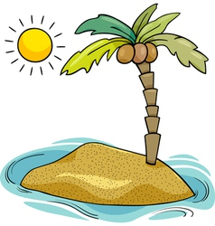 Desert island cartoon vector