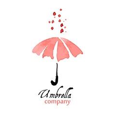 Design element pink umbrella with drops vector