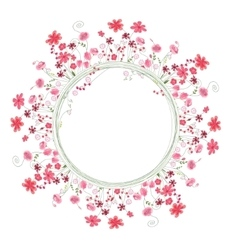 Detailed contour wreath with herbs and red flowers vector image