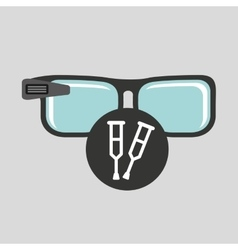 Digital glasses wifi medical crutch vector