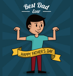 Fathers day card best dad ever cartoon dad vector