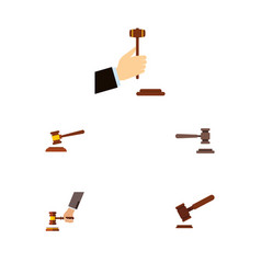 Flat icon lawyer set of hammer law legal and vector