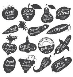 Fruits and vegetables stickers labels vector image vector image