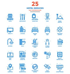 Modern flat line color icons hotel service vector