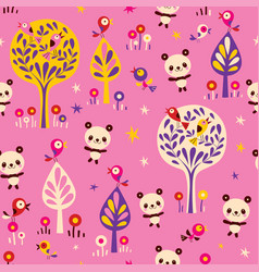 Panda bears and birds in forest seamless pattern vector