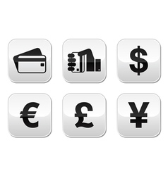 Payment methods buttons set - credit card by cash vector image