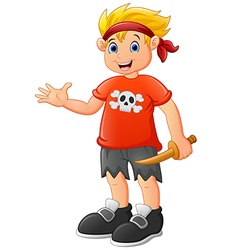 Pirate kid holding a wooden knife vector image
