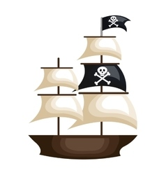 pirate ship isolated icon vector image vector image