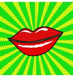 red lips on a green background vector image vector image