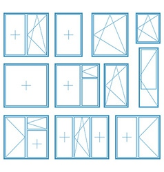 Set of plastic window frame symbol vector image