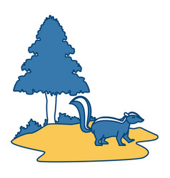 skunk animal cartoon vector image