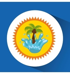Sun water splash palm summer vacation vector