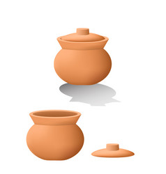 Traditional asian clay pot in 3d mesh vector