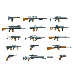 Weapons flat icons Shotgun and machine gun vector image vector image