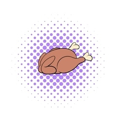 Whole roast chicken icon comics style vector image