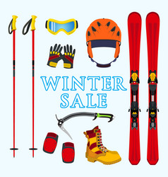 winter sale of ski snowboarding equipment stuff in vector image