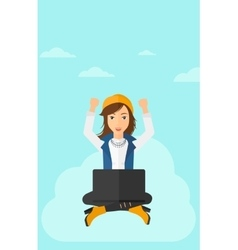 Woman sitting on cloud with laptop vector image