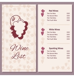 Wine list with a bunch of grapes vector image