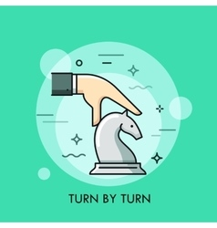 Hand moving white knight chess piece vector