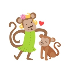 Monkey mom in dress animal parent and its baby vector