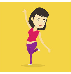 Cheerful asian woman dancer dancing vector