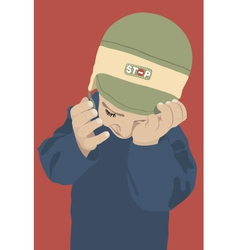 Crying kid with green cap on red background vector