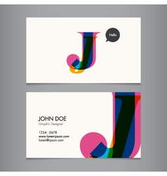 Business card template letter j vector