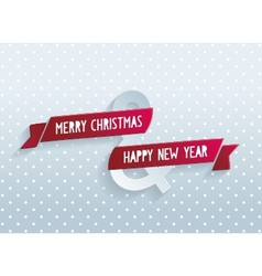 Happy Christmas greeting card with red ribbon vector image