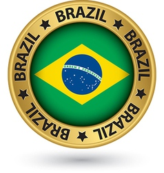 Brazil gold label with flag vector image