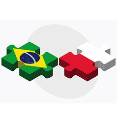 Brazil and poland flags vector