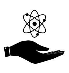 Atom in hand icon vector