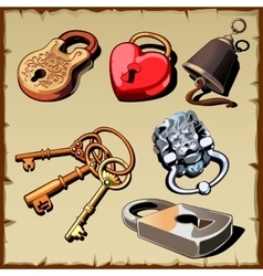 Set of locks keys and bell as design elements vector
