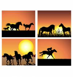 Horse on sunset backgrounds vector