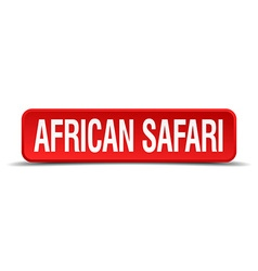 African safari red three-dimensional square button vector