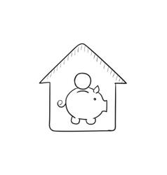 House savings sketch icon vector