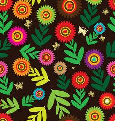 Seamless flower retro background vector image