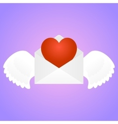 Envelope with heart vector
