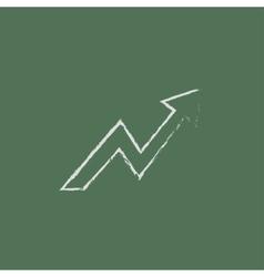 Arrow upward icon drawn in chalk vector image
