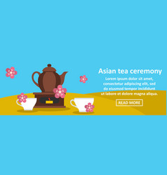 asian tea ceremony banner horizontal concept vector image
