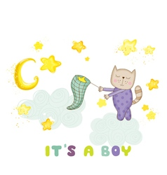 Baby shower card - baby cat catching stars vector