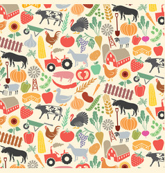background pattern with agricultural icons vector image