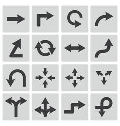 black icon arrows icons vector image