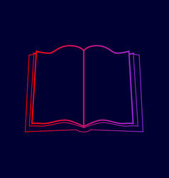 Book sign line icon with gradient from vector