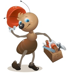 Carpenter ant in the helmet bears toolbox vector image