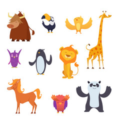 cartoon birds and animals isolated on white vector image