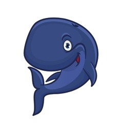 Cartoon smiling blue sperm whale character vector