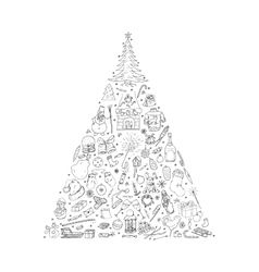 Christams tree doodle elements vector