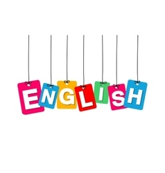 Colorful hanging cardboard tags - english vector